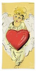 Beach Towel featuring the painting Angel Red Heart by Go Van Kampen
