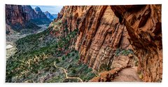 Angels Landing Trail From High Above Zion Canyon Floor Beach Sheet
