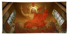 Angry God Mosaic At The Shrine Of The Immaculate Conception In Washington Dc Beach Towel