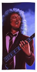 Angus Young Of Ac / Dc Beach Towel by Paul Meijering
