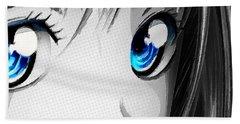Anime Girl Eyes 2 Black And White Blue Eyes Beach Sheet