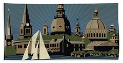 Annapolis Steeples And Cupolas Serenity With Border Beach Towel