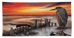 Beach Towel featuring the pastel Another Bloody Sunset by Peter Williams