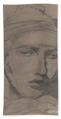Beach Towel featuring the drawing Antigone By Jrr by First Star Art