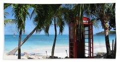 Antigua - Phone Booth Beach Towel by HEVi FineArt