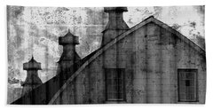 Antique Barn - Black And White Beach Towel