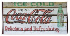 Antique Coca Cola Sign  Beach Towel