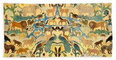 Antique Cutout Of Animals  Beach Towel by American School