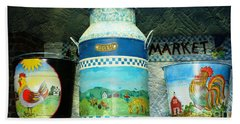 Beach Towel featuring the photograph Antique Dairy Milk Can And Pails by Judy Palkimas