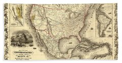 Antique North America Map Beach Towel