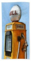 Antique Shell Gas Pump Beach Towel