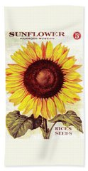 Antique Sunflower Seeds Pack Beach Towel