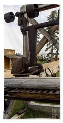 Beach Towel featuring the photograph Antique Table Saw Tool Wood Cutting Machine by Paul Fearn