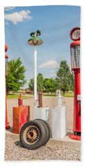 Beach Towel featuring the photograph Antique Texaco Pumps by Sue Smith