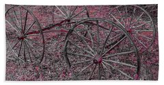 Beach Towel featuring the photograph Antique Wagon Wheels by Sherman Perry