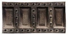 Antique Wooden Door Closeup Beach Sheet