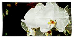 Aos White Orchid 1 Beach Towel