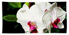 Aos White Orchid 2 Beach Towel