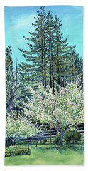 Beach Towel featuring the painting Apple Blossoms And Redwoods by Asha Carolyn Young