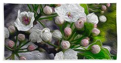 Beach Towel featuring the photograph Apple Blossoms In Oil by Nina Silver