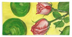 Apples And Roses Beach Towel