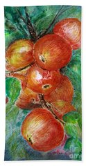 Beach Sheet featuring the painting Apples by Jasna Dragun