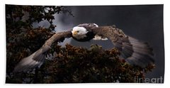 Approaching Eagle-signed- Beach Towel by J L Woody Wooden