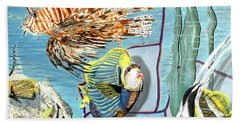 Beach Towel featuring the painting Aquarium by Daniel Janda