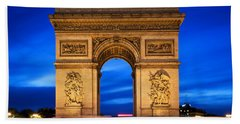 Arc De Triomphe At Night Paris France  Beach Towel