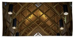 Arched Trusses - University Of Florida Chapel On Lake Alice Beach Towel by Lynn Palmer