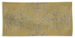 Sepia Maltese Cross Blueprint Beach Towel