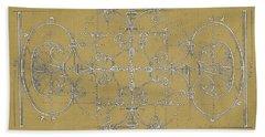 Sepia Maltese Cross Blueprint Beach Sheet by Suzanne Powers