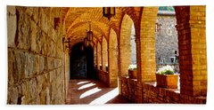 Archway By Courtyard In Castello Di Amorosa In Napa Valley-ca Beach Towel