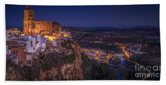 Arcos De La Frontera Panorama From Balcon De La Pena Cadiz Spain Beach Towel