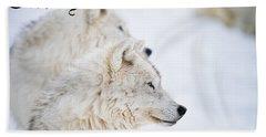 Arctic Wolf Christmas Card 12 Beach Towel