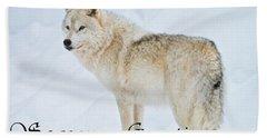 Arctic Wolf Season Greetings Card 9 Beach Towel