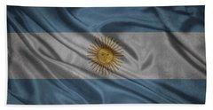 Argentinian Flag Waving On Canvas Beach Towel by Eti Reid