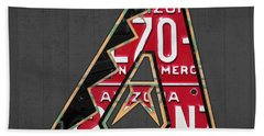 Arizona Diamondbacks Baseball Team Vintage Logo Recycled License Plate Art Beach Towel by Design Turnpike