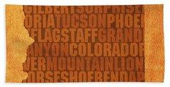 Arizona Word Art State Map On Canvas Beach Towel