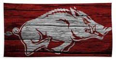 Arkansas Razorbacks On Wood Beach Sheet by Dan Sproul