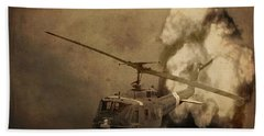 Army Helicopter Explosion Beach Towel by Dan Sproul