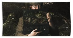 Army Soldier With Security Screen Saver Beach Towel