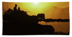 Army Tank With Camouflage In Training Beach Towel
