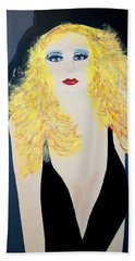 Art Deco Girl With Black Hat Beach Sheet