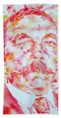 Arthur Conan Doyle Watercolor Portrait Beach Towel