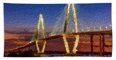 Arthur Ravenel Bridge At Evening  Beach Sheet