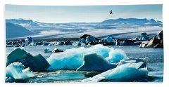 Artic Tern Over Jokulsarlon Glacier Lagoon Beach Towel