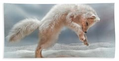 Artic White Wolf Beach Sheet by Joan  Minchak