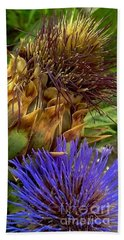 Artichoke And Blossom  Beach Sheet by Michael Hoard