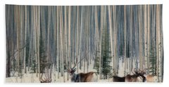 Caribou And Trees Beach Towel